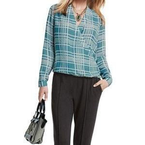 CAbi Teal & Cream Windowpane Patterned LS Blouse